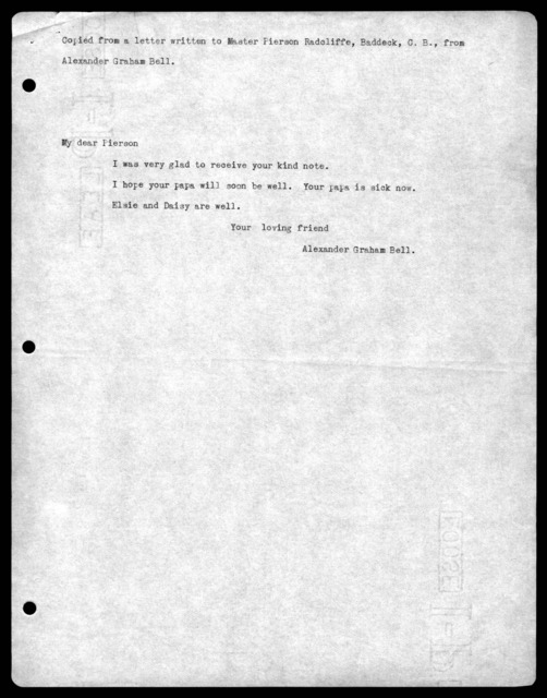 Letter from Alexander Graham Bell to J. Pierson Radcliffe, undated