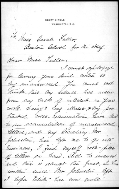 Letter from Alexander Graham Bell to Sarah Fuller, undated