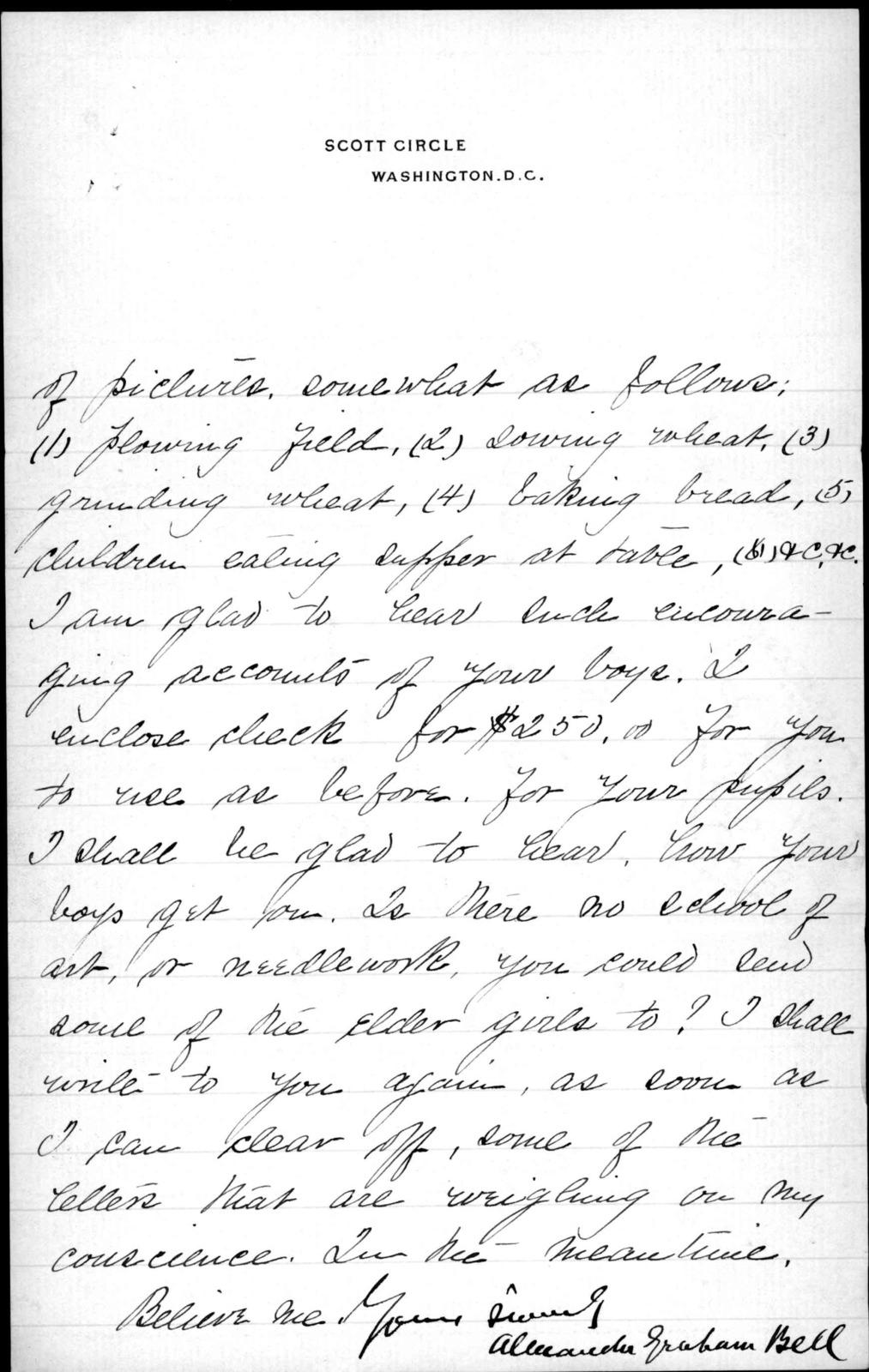 Letter from Alexander Graham Bell to Sarah Fuller, undated