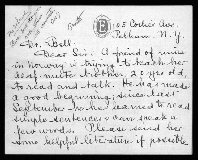 Letter from E. Newcomb Wilson to Alexander Graham Bell, undated