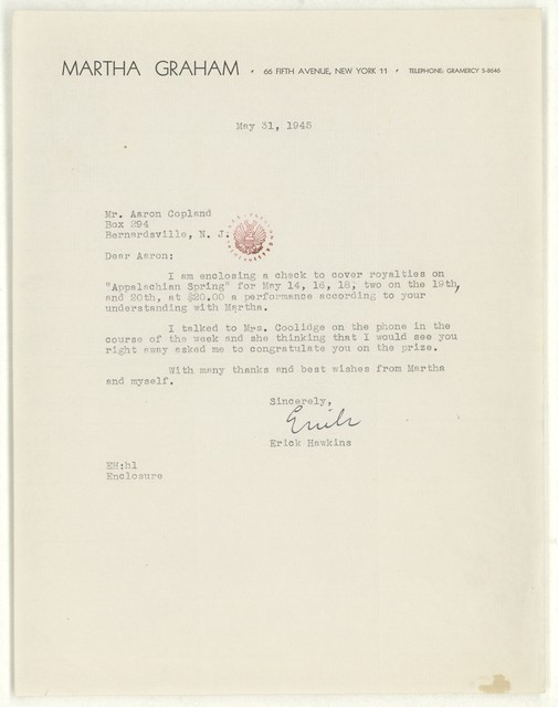 [ Letter from Erick Hawkins to Aaron Copland, May 31, 1945]