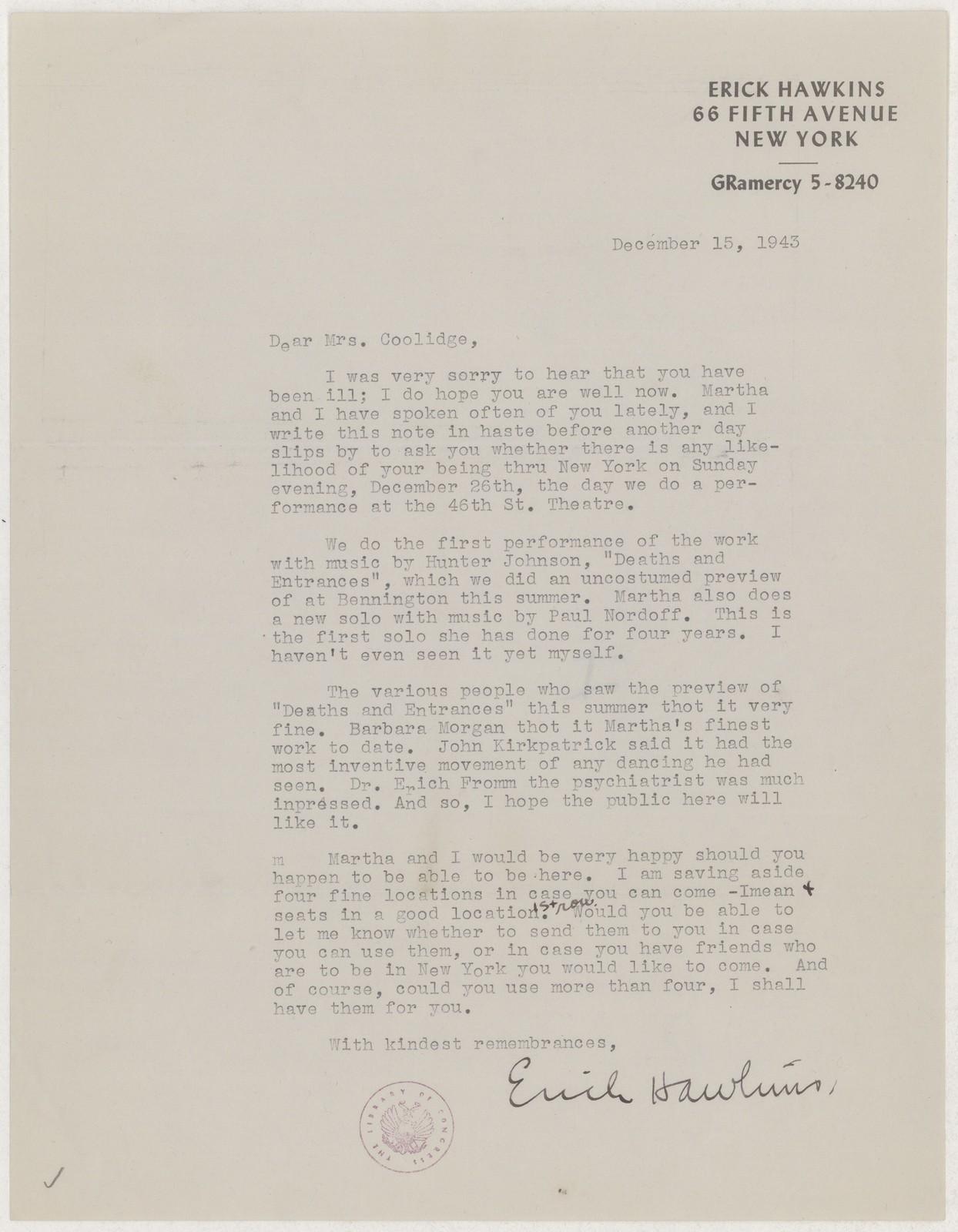[ Letter from Erick Hawkins to Elizabeth Sprague Coolidge, December 15, 1943]