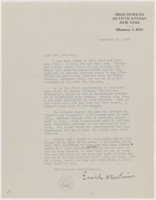 [ Letter from Erick Hawkins to Elizabeth Sprague Coolidge, December 15, 1943]