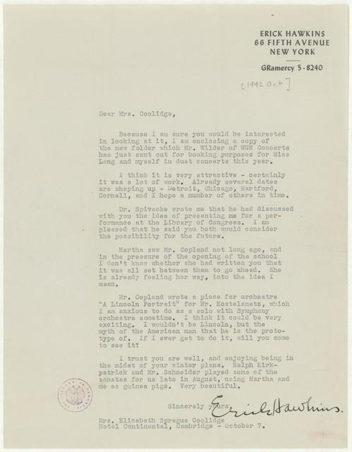 [ Letter from Erick Hawkins to Elizabeth Sprague Coolidge, October, 1942]