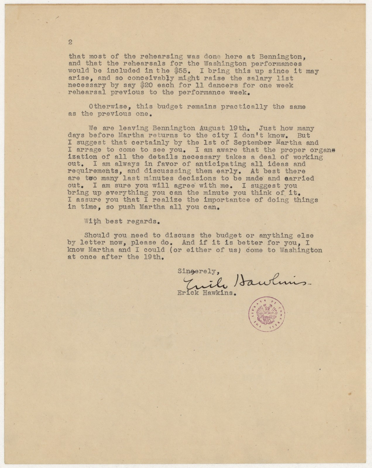 [ Letter from Erick Hawkins to Harold Spivacke, August 16, 1944]