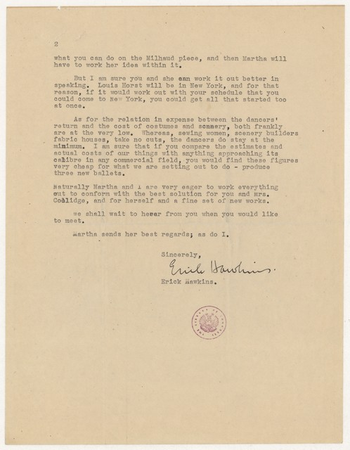 [ Letter from Erick Hawkins to Harold Spivacke, August 27, 1944]