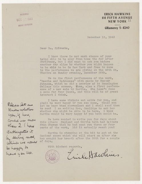 [ Letter from Erick Hawkins to Harold Spivacke, December 15, 1943]