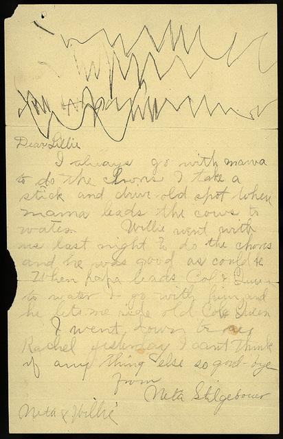 Letter from Estella Stilgebouer, Neta Stilgebouer, and Willie Stilgebouer to Lillie Oblinger, 1899-1900?