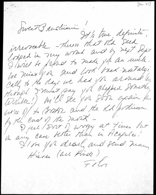 Letter from Felicia Bernstein to Burton Bernstein, December 1951