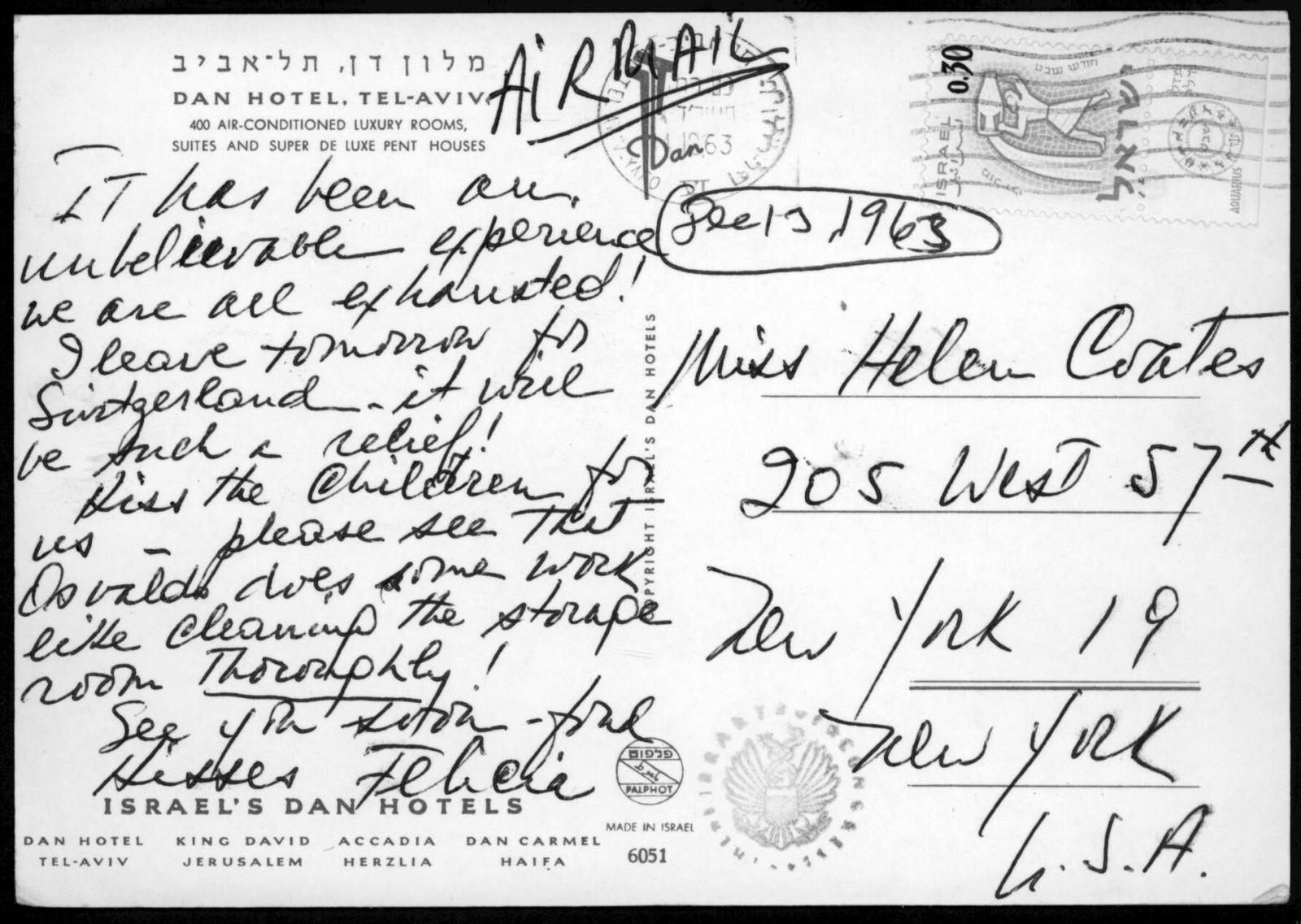 Letter from Felicia Bernstein to Helen Coates, December 13, 1963