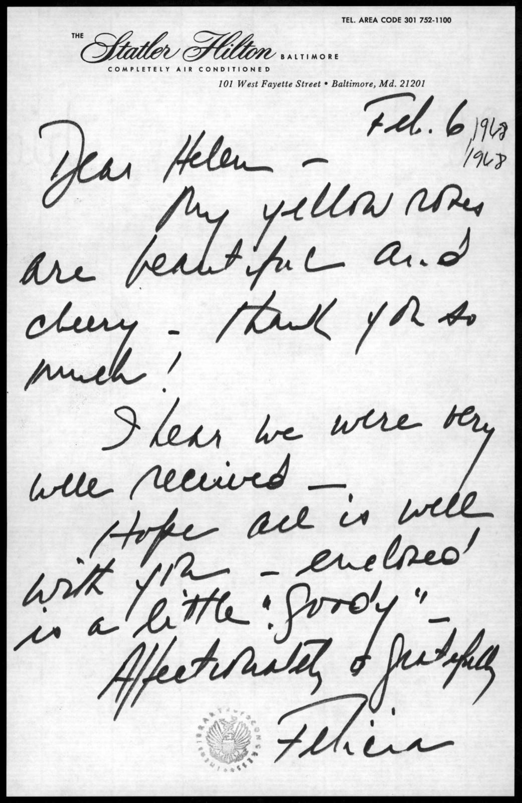 Letter from Felicia Bernstein to Helen Coates, February 6, 1968