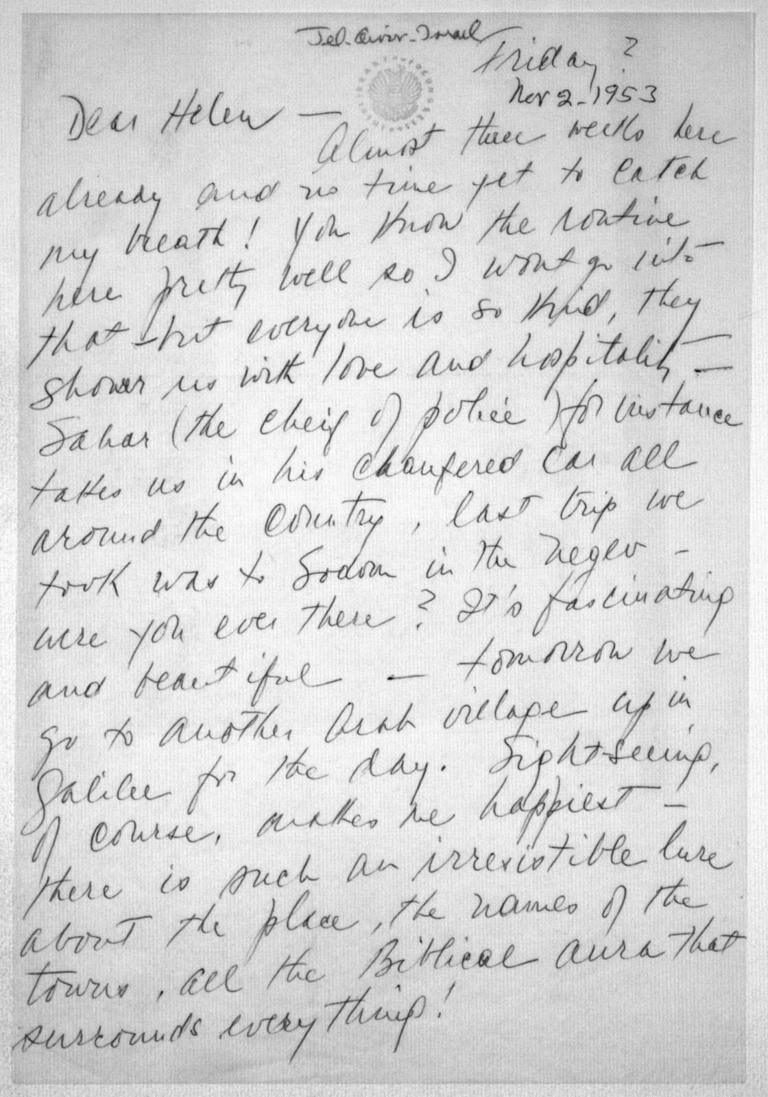 Letter from Felicia Bernstein to Helen Coates, November 2, 1953