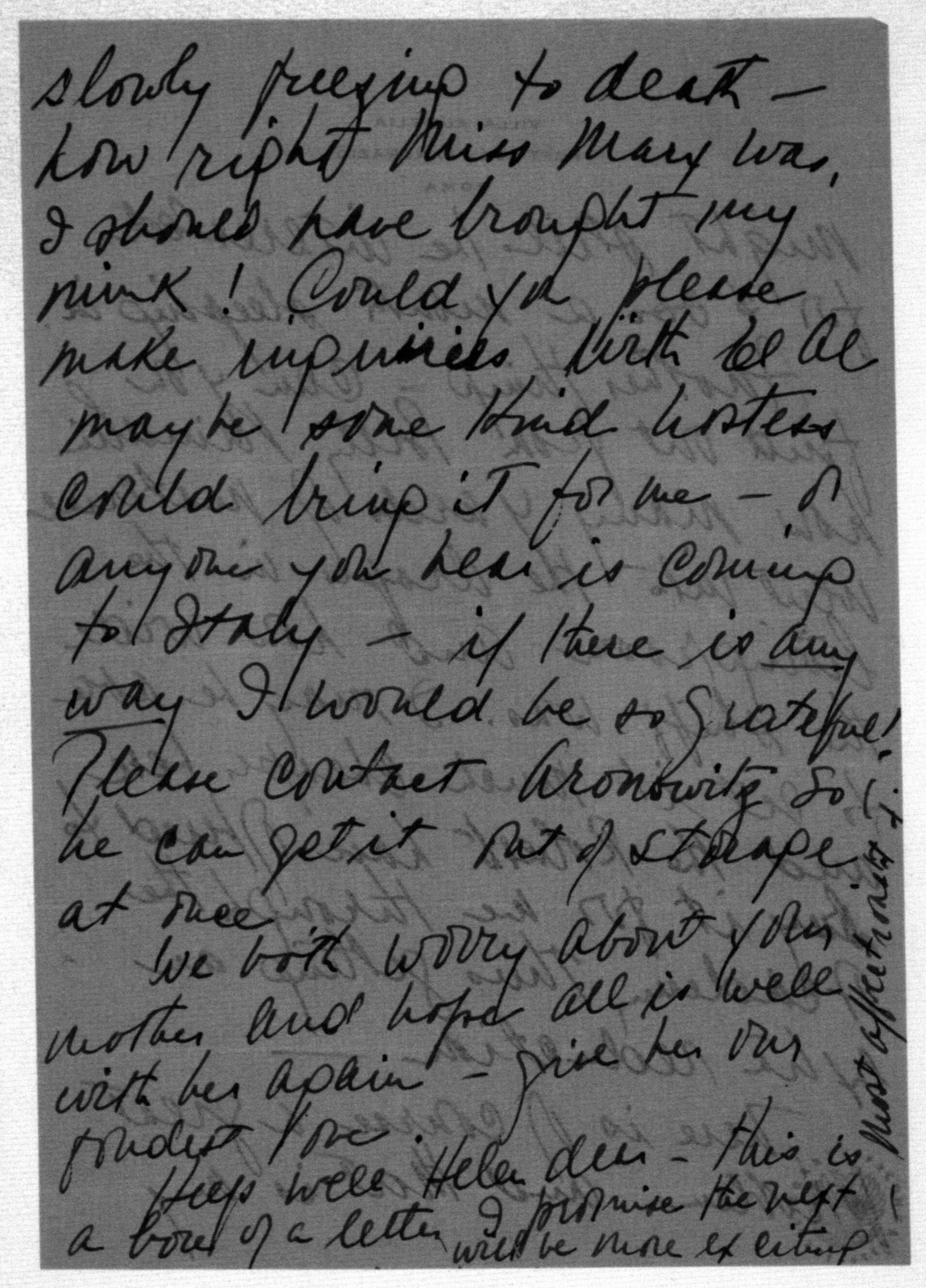 Letter from Felicia Bernstein to Helen Coates, November 27, 1953