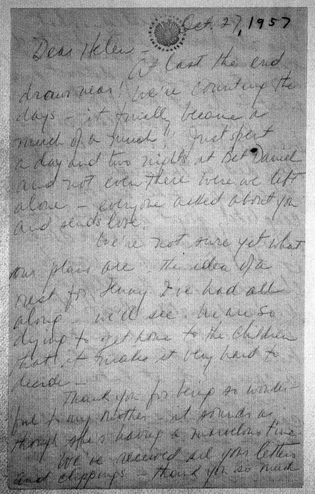 Letter from Felicia Bernstein to Helen Coates, October 27, 1957