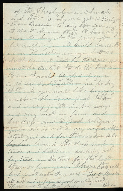 Letter from Giles S. Thomas to Thomas Family, January 9-10, 1876