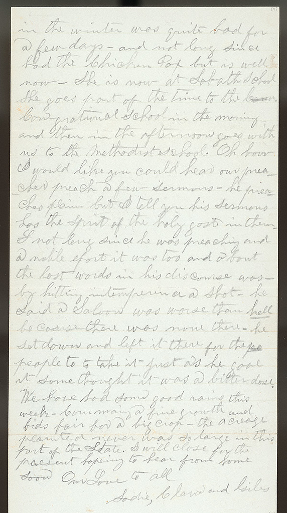 Letter from Giles S. Thomas to Thomas Family, July 13-20, 1884
