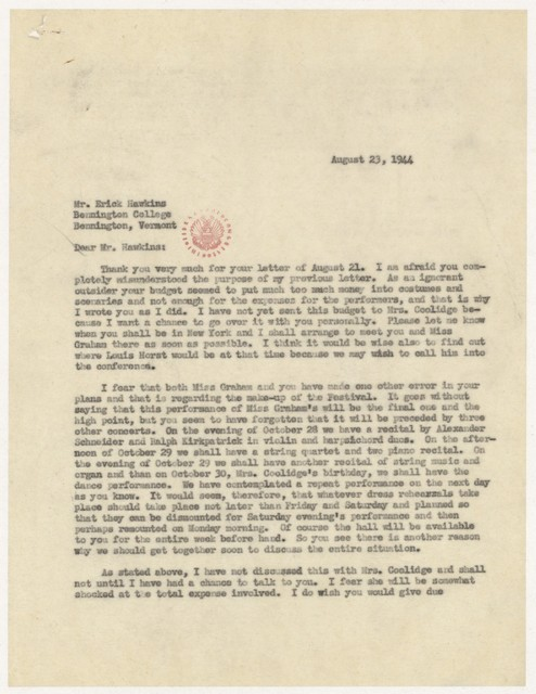 [ Letter from Harold Spivacke to Erick Hawkins, August 23, 1944]