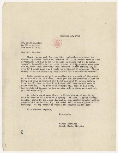 [ Letter from Harold Spivacke to Erick Hawkins, December 17, 1943]