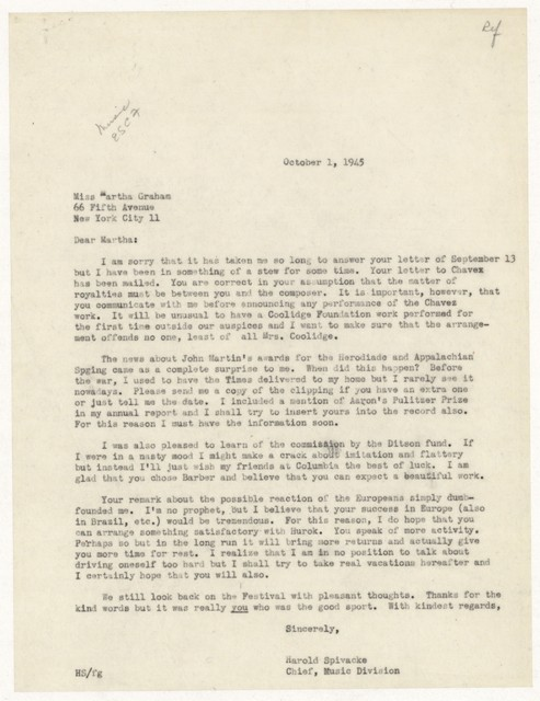 [ Letter from Harold Spivacke to Martha Graham, October 1, 1945]