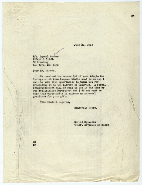 [ Letter from Harold Spivacke to Samuel Barber, July 27, 1943]