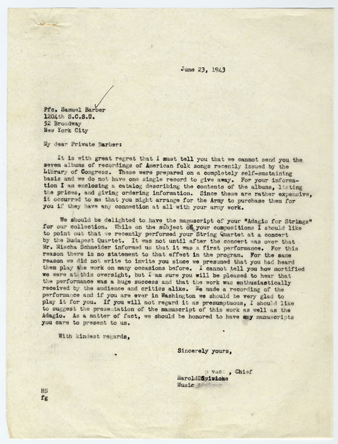 [ Letter from Harold Spivacke to Samuel Barber, June 23, 1943]