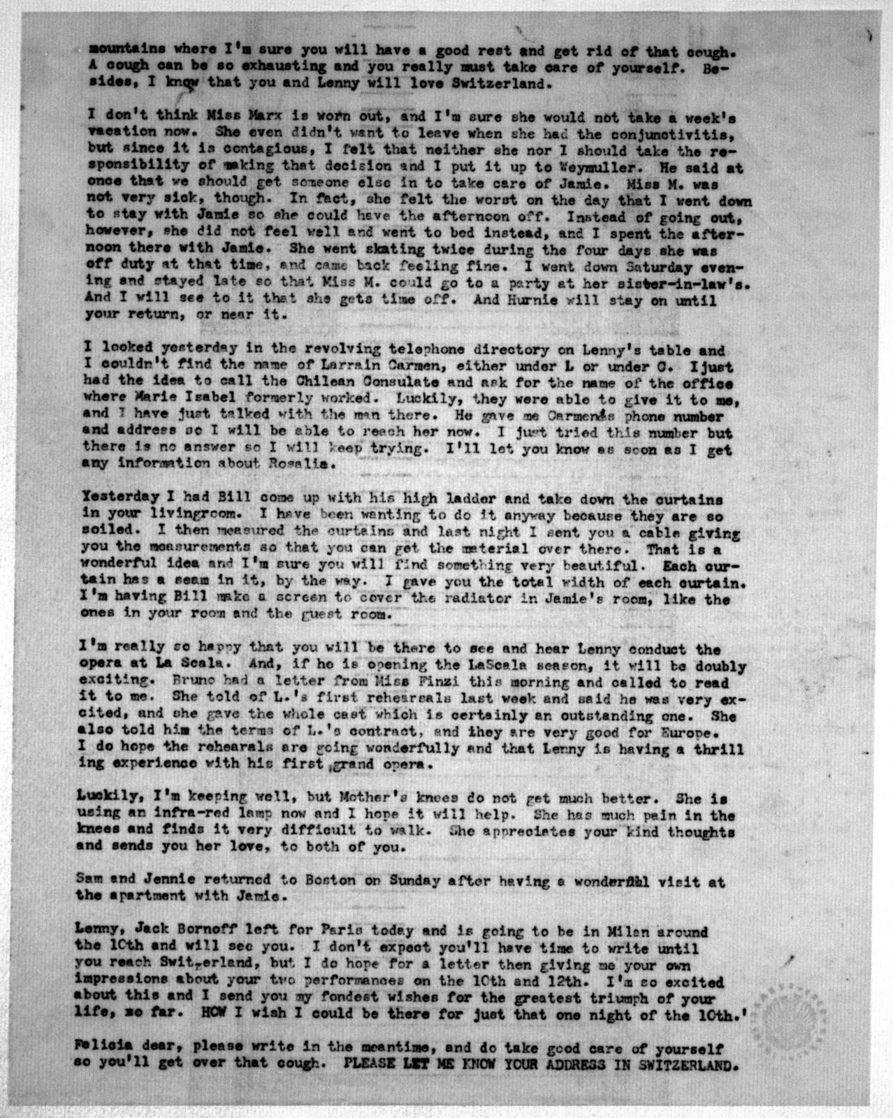 Letter from Helen Coates to Felicia Bernstein, December 1, 1953
