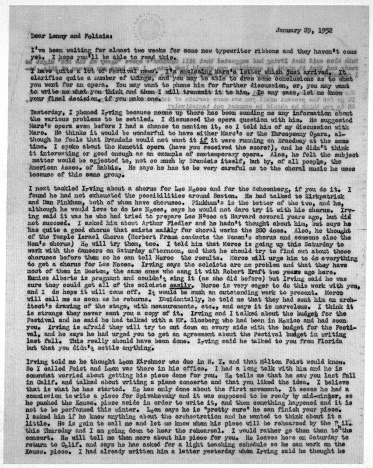 Letter from Helen Coates to Leonard & Felicia Bernstein, n.d.