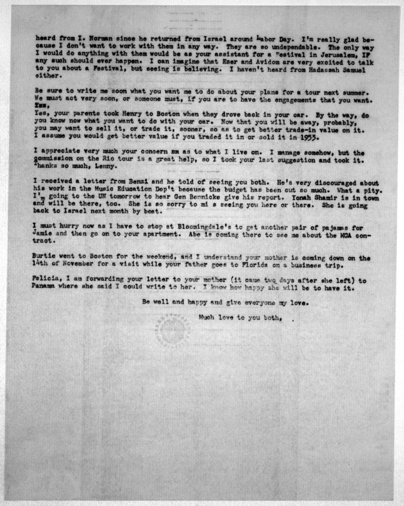 Letter from Helen Coates to Leonard & Felicia Bernstein, October 26, 1953
