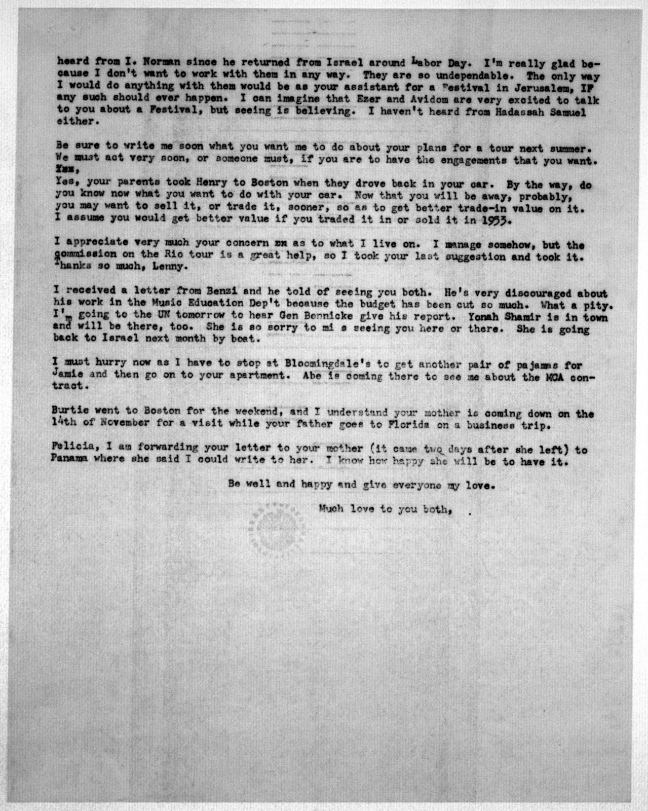 Letter from Helen Coates to Leonard & Felicia Bernstein, October 26, 1953