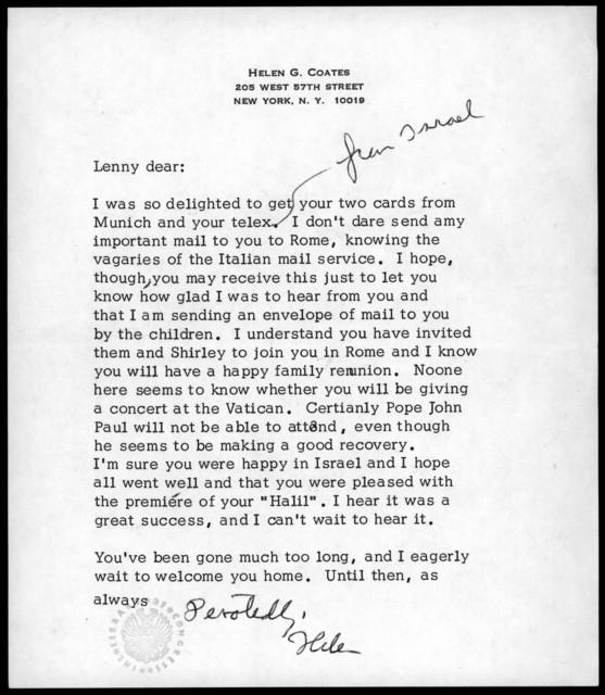 Letter from Helen Coates to Leonard Bernstein, 1981
