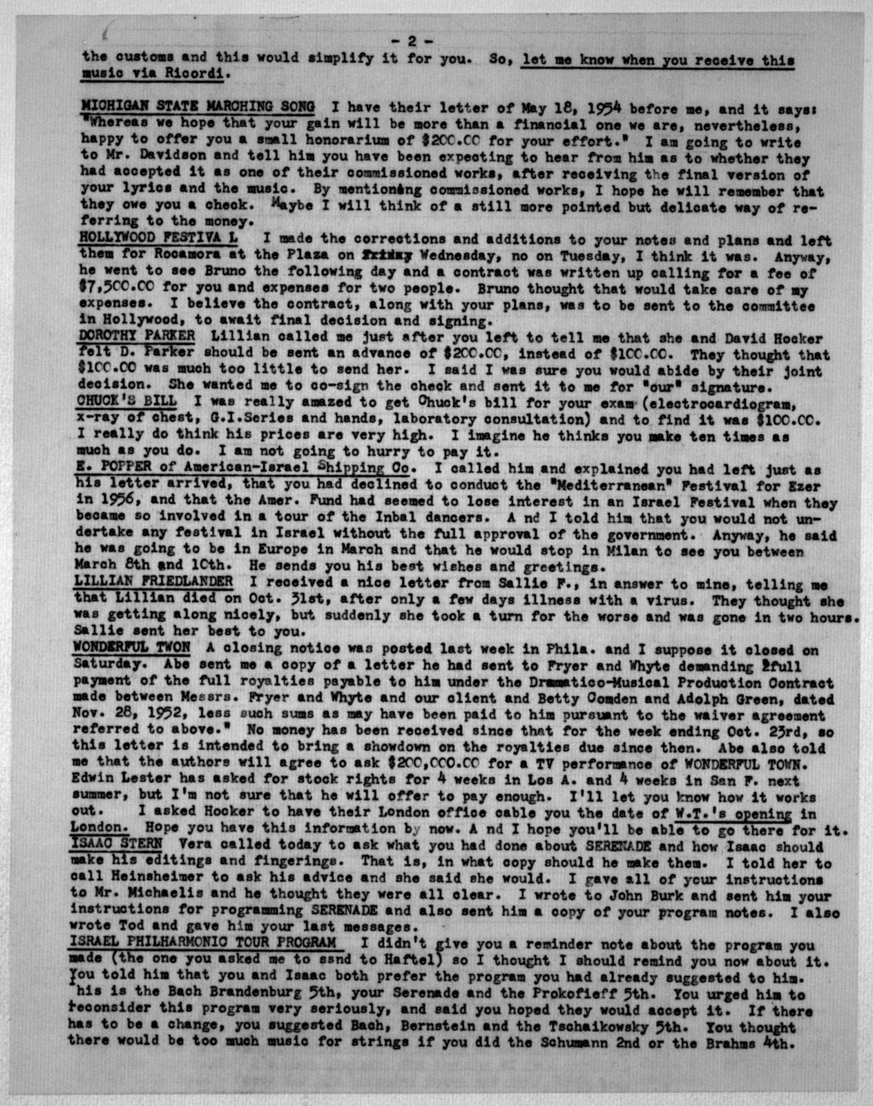 Letter from Helen Coates to Leonard Bernstein, February 7, 1955