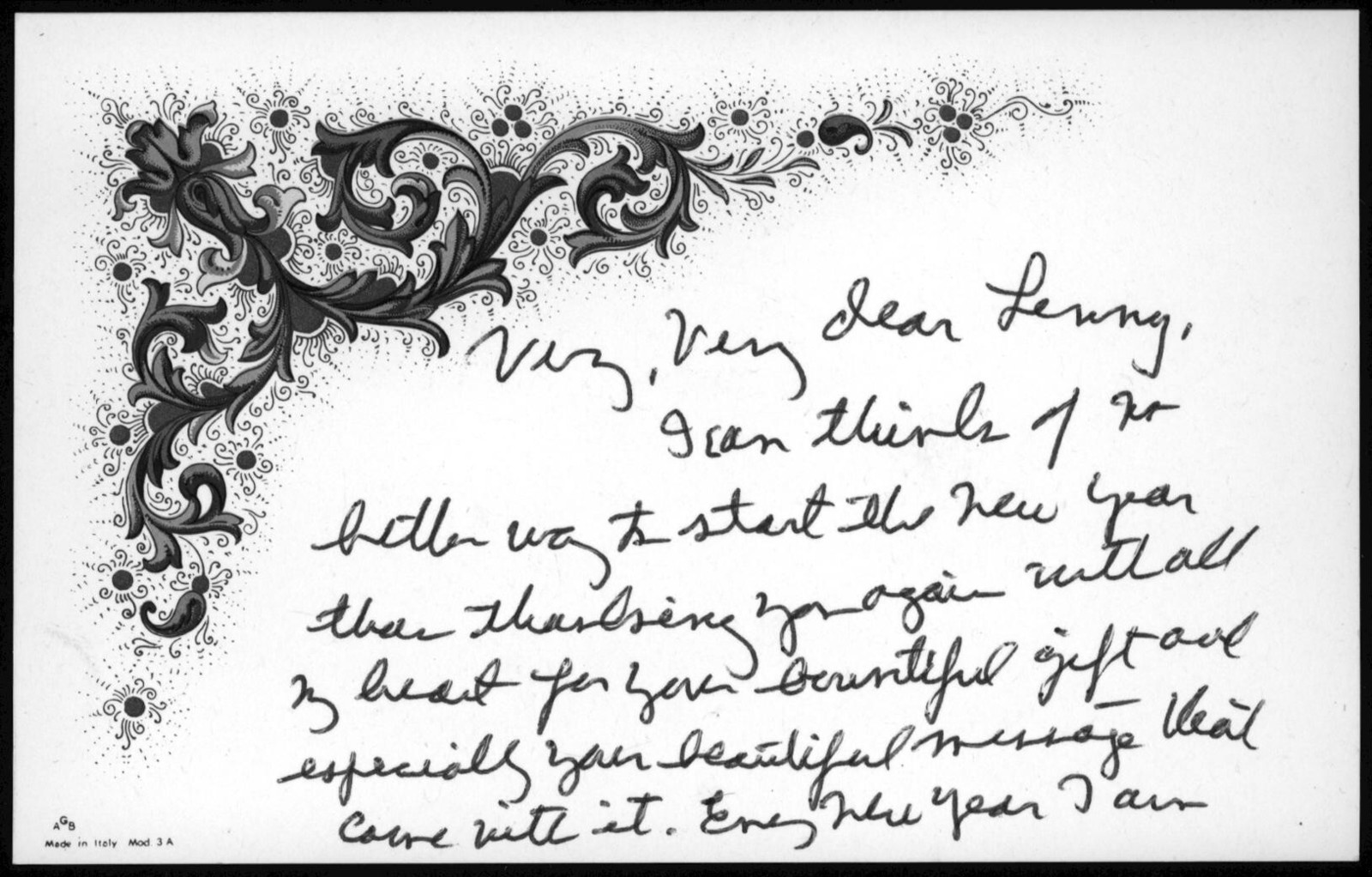Letter from Helen Coates to Leonard Bernstein, January 1, 1981