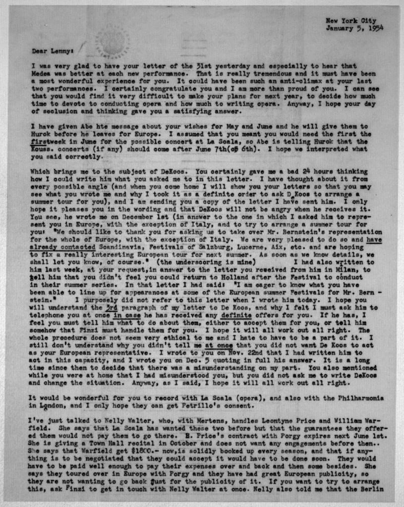 Letter from Helen Coates to Leonard Bernstein, January 5, 1954