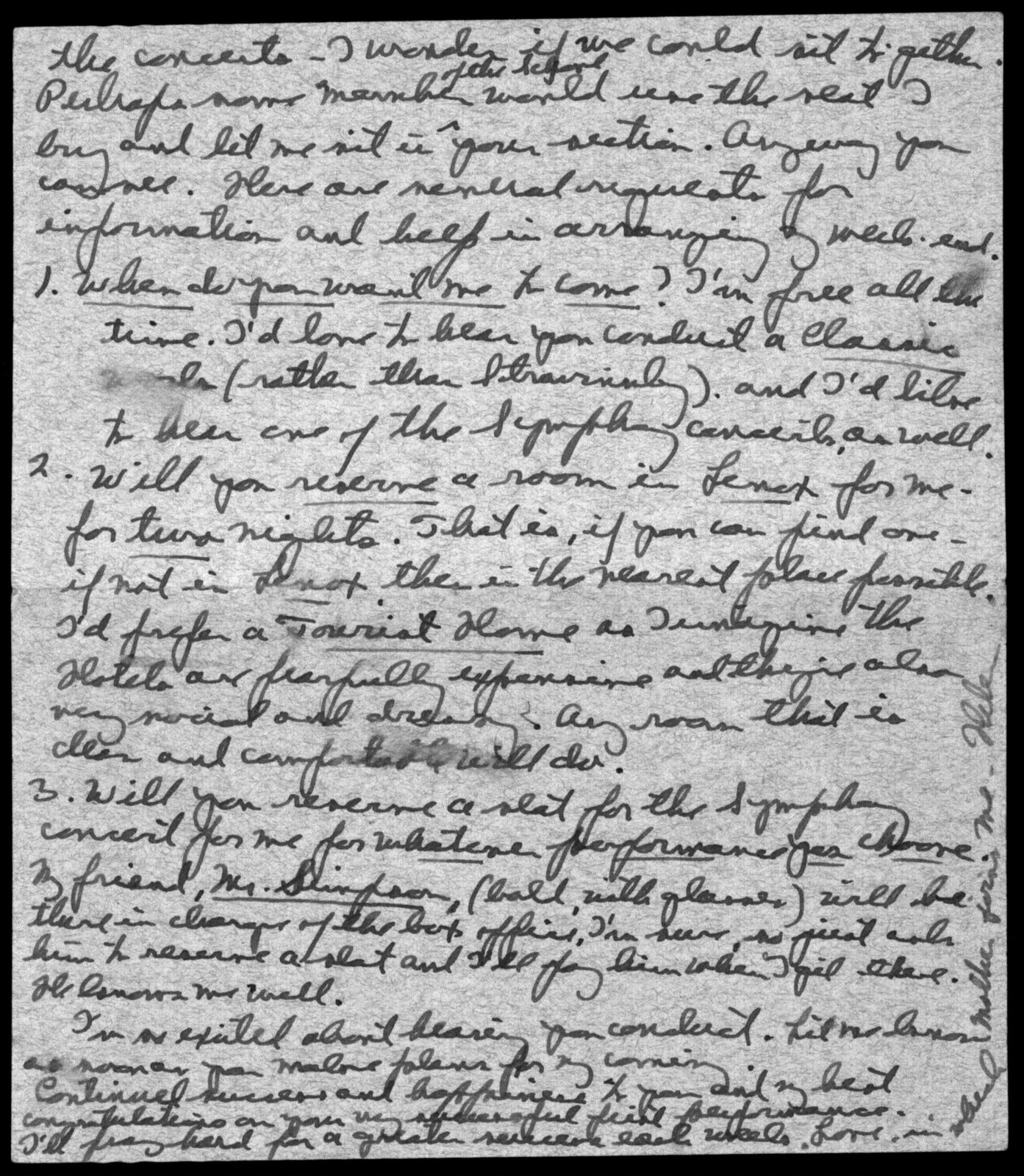 Letter from Helen Coates to Leonard Bernstein, July 21, 1940