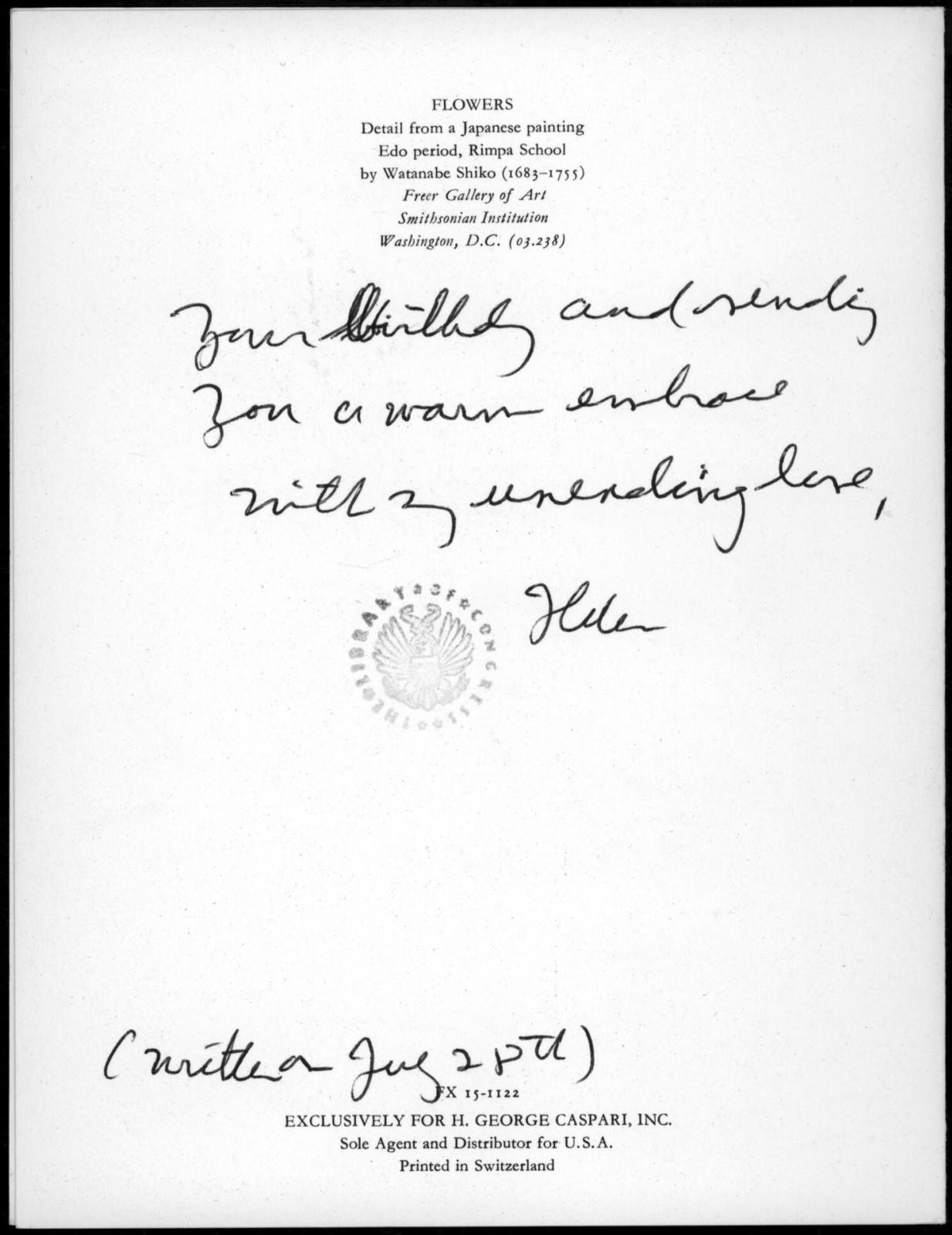 Letter from Helen Coates to Leonard Bernstein, n.d.
