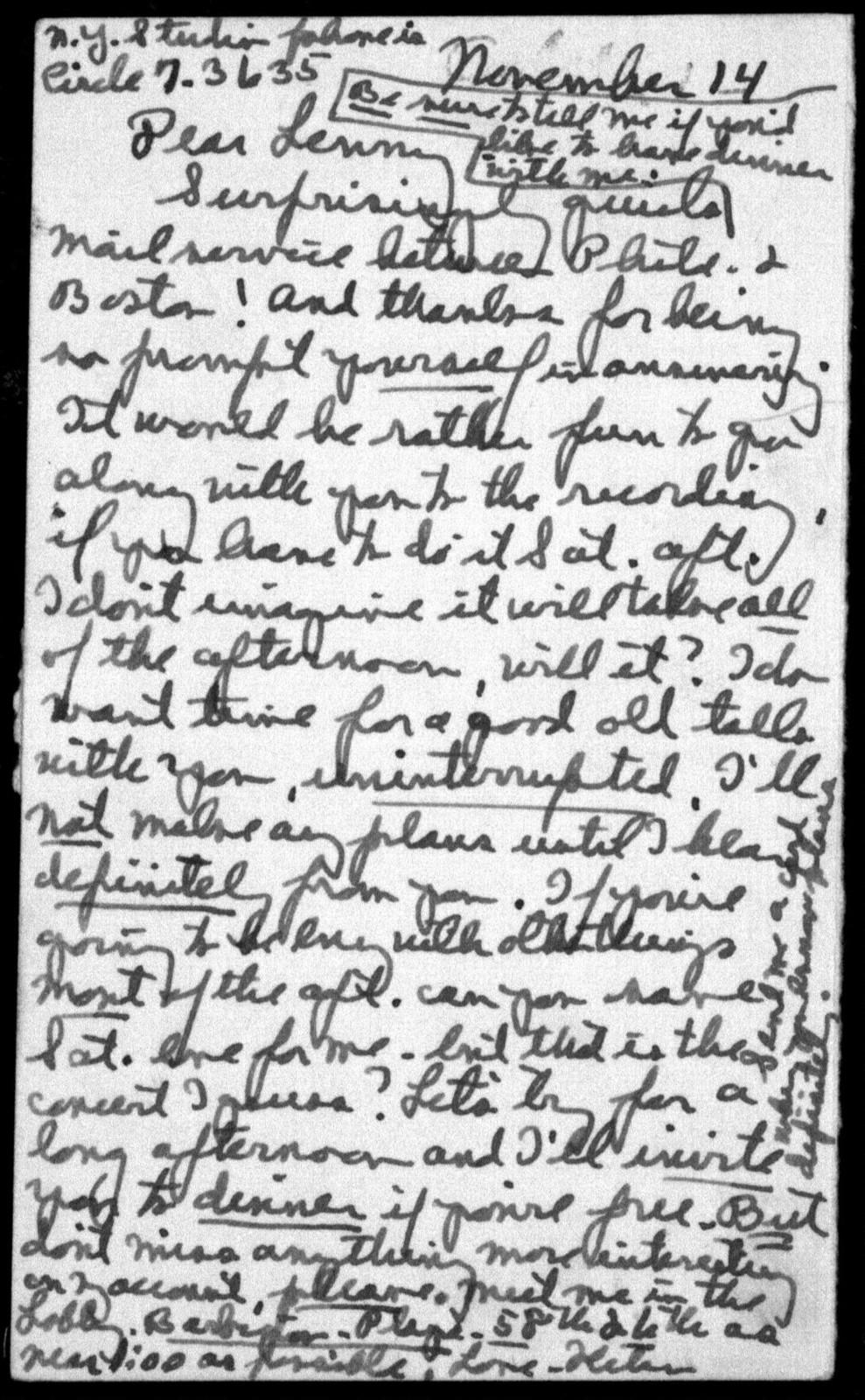 Letter from Helen Coates to Leonard Bernstein, November 14, 1940