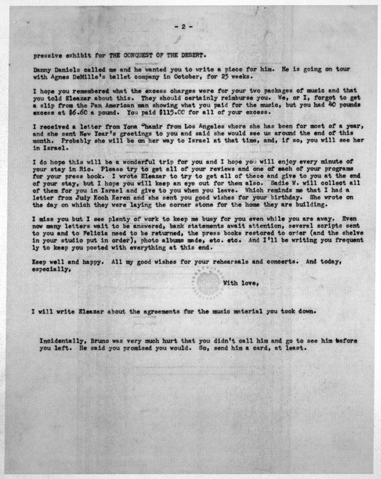 Letter from Helen Coates to Leonard Bernstein, September 9, 1953