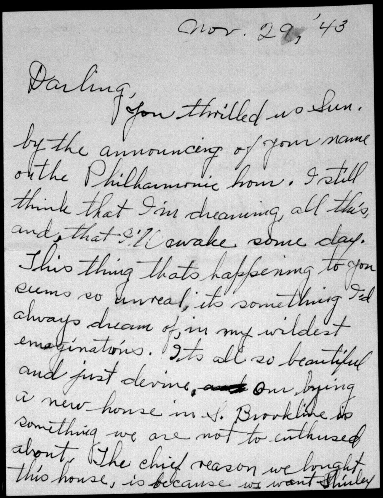 Letter from Jennie Bernstein to Leonard Bernstein, November 29, 1943