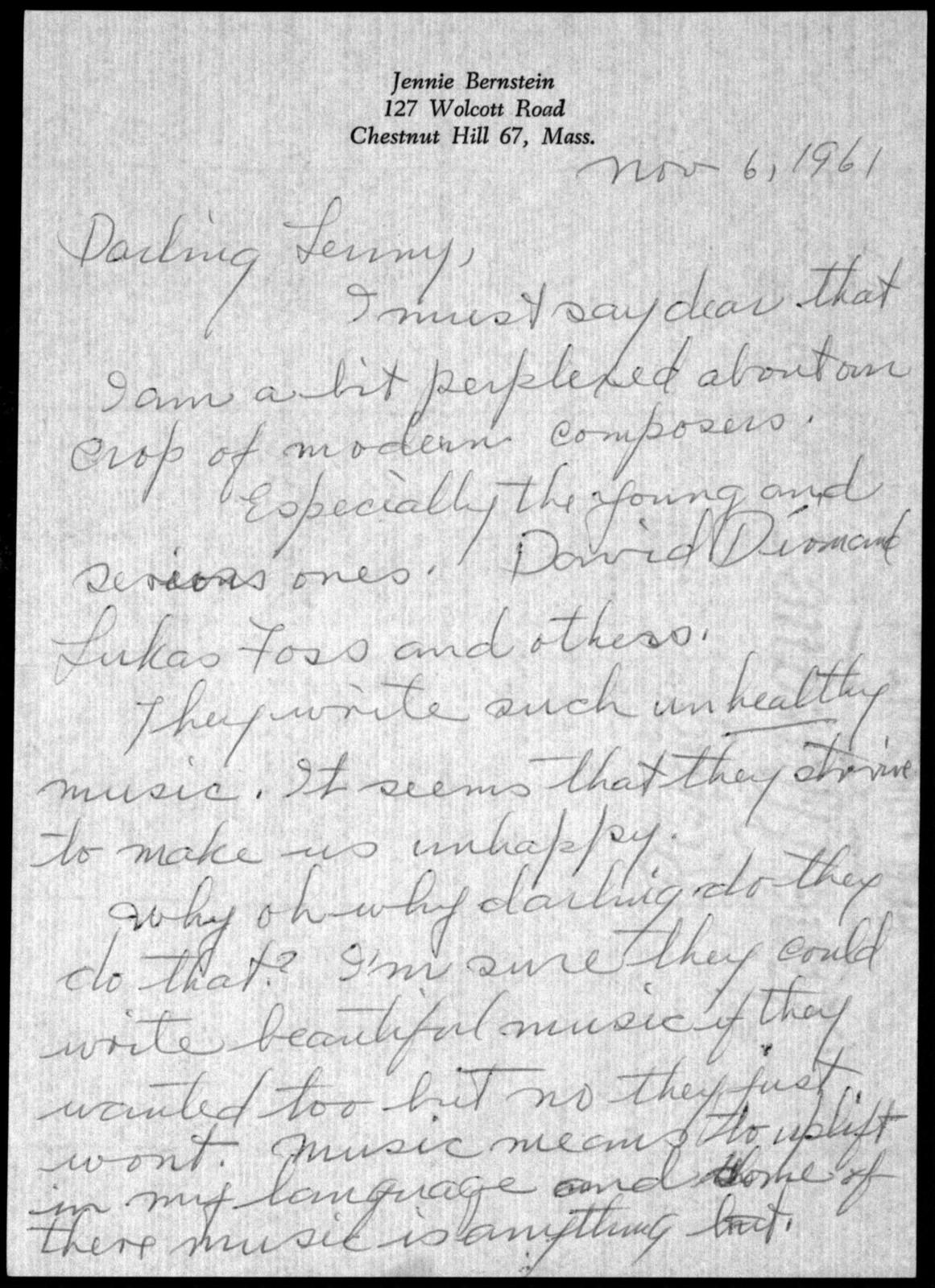 Letter from Jennie Bernstein to Leonard Bernstein, November 6, 1961