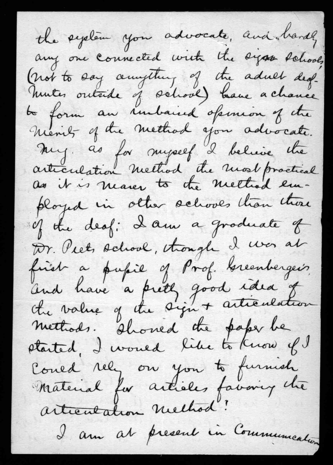 Letter from J.F. Donnelly to Alexander Graham Bell, April 24