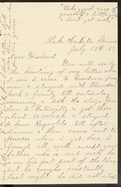 Letter from Laura I. Oblinger to Uriah W. Oblinger, July 17-20, 1887