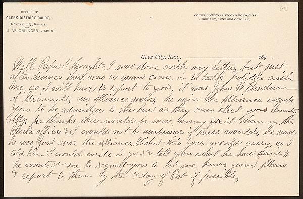 Letter from Laura I. Oblinger to Uriah W. Oblinger, September 27-29 1890