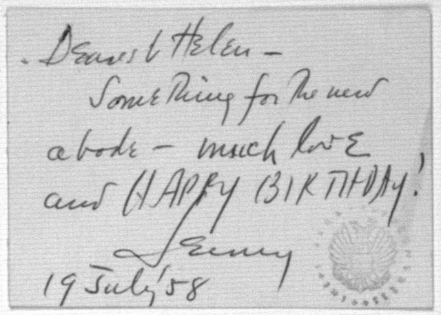 Letter from Leonard & Felicia Bernstein & Children to Helen Coates, July 19, 1958