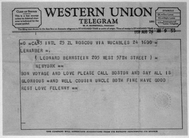 Letter from Leonard & Felicia Bernstein to Helen Coates, August 24, 1959