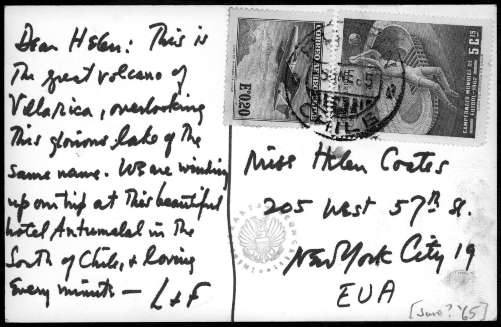 Letter from Leonard & Felicia Bernstein to Helen Coates, June 1965