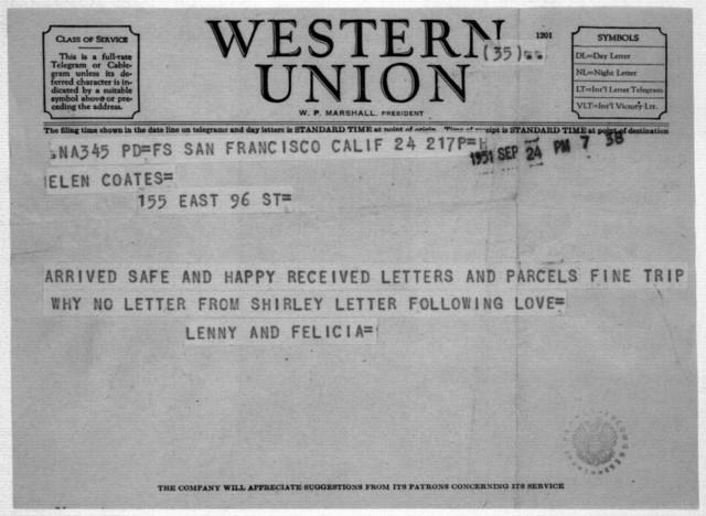 Letter from Leonard & Felicia Bernstein to Helen Coates, n.d.