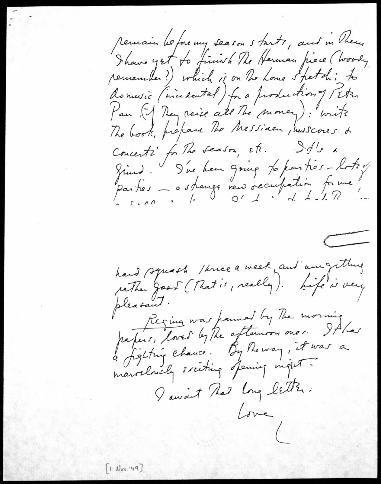 Letter from Leonard Bernstein to Burton Bernstein, November 1, 1949