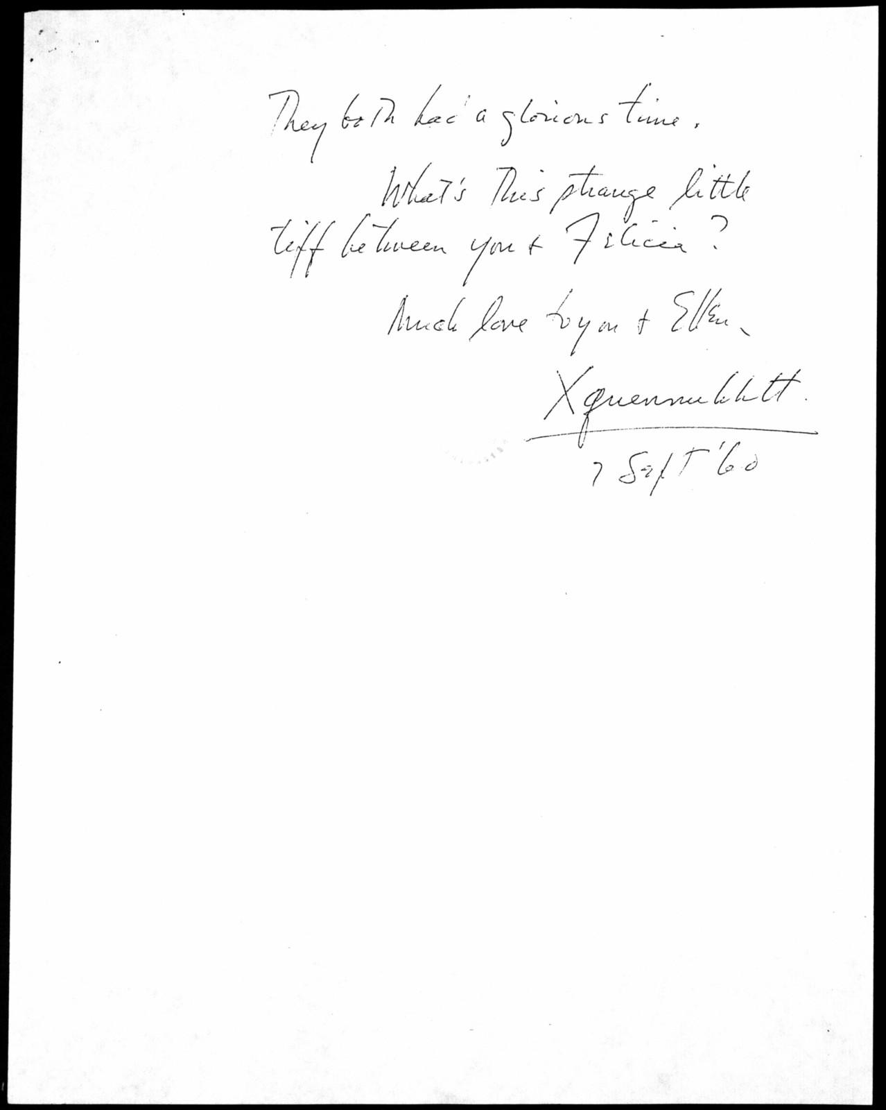 Letter from Leonard Bernstein to Burton Bernstein, September 1960