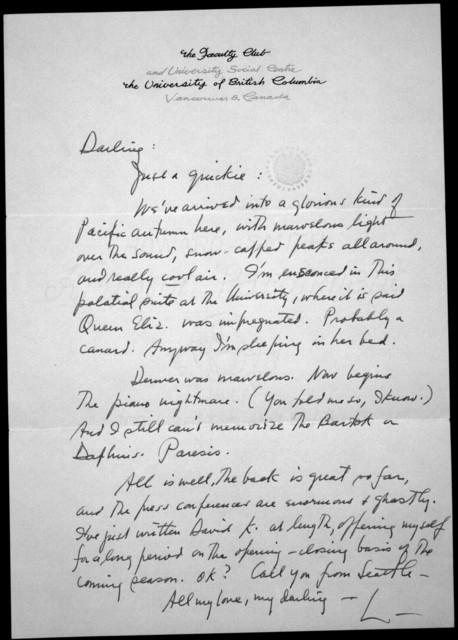 Letter from Leonard Bernstein to Felicia Bernstein, n.d.