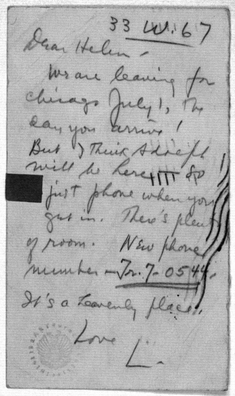 Letter from Leonard Bernstein to Helen Coates, 1944